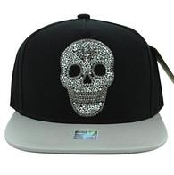 SM029 Skull Snapback Cap Hat (Black & Silver)