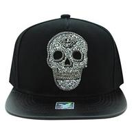 SM029 Skull Snapback Cap Hat (Black & Black)