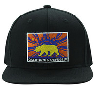 SM897 Cali Bear Cotton Snapback (Black & Black)