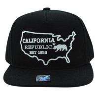 SM939 Cali Bear Cotton Snapback (Black & Black)