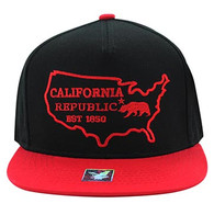 SM939 Cali Bear Cotton Snapback (Black & Red)