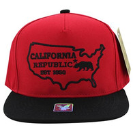 SM939 Cali Bear Cotton Snapback (Red & Black)