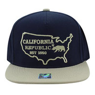 SM939 Cali Bear Cotton Snapback (Navy & Khaki)