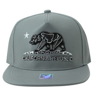 SM959 Cali Bear Cotton PU Snapback (Grey & Grey)