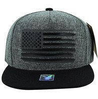 SM928 USA Flag Snapback (Charcoal & Black)