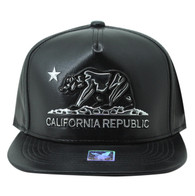 SM959 Cali Bear Cotton PU Snapback (Black & Black)