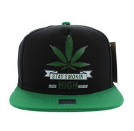 SM027 Marijuana Snapback Cap Hat (Black & Kelly Green)