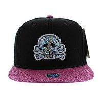 SM011 Skull Snapback Cap Hat (Black & Hot Pink)