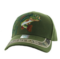 VM008 Kiss My Bass Velcro Cap (Solid Olive)