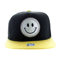 SM019 Smiling Face Emoji Snapback Cap Hat (Black & Gold)