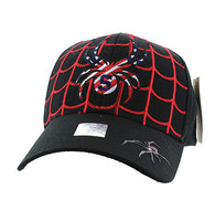 VM019 Adult Spider Cotton Velcro Cap (Black & Black)