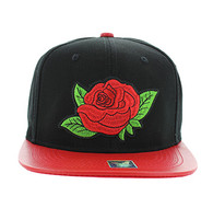 SM018 Rose Snapback Cap Hat (Black & Red)