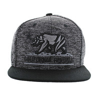 SM616 California Republic Snapback (Heather Grey & Black - Black Stitch)