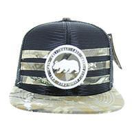 SM686 Mexico Mesh Snapback Cap (Black & Hunting Camo)