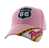 VM296 Route 66 Road Velcro Cap (Solid Light Pink)