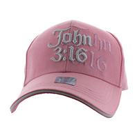VM316 Chapter 3 Verse 16 of the Gospel of John Velcro Cap (Solid Light Pink)