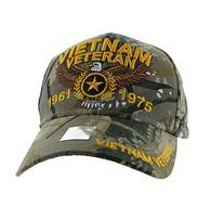 VM515 Vietnam Veteran Velcro Cap (Solid Hunting Camo)