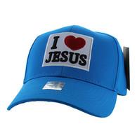 VM641 I Love Jesus Velcro Baseball Cap (Solid Sky Blue)