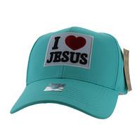 VM641 I Love Jesus Velcro Baseball Cap (Solid Sage)