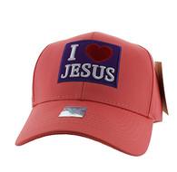 VM641 I Love Jesus Velcro Baseball Cap (Solid Pink)