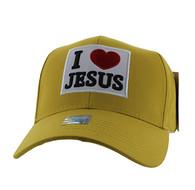 VM641 I Love Jesus Velcro Baseball Cap (Solid Mustard)