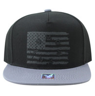 SM912 USA Flag Snapback (Black & Grey)