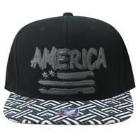 SM924 America USA Flag Snapback (Black & Black)