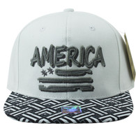 SM924 America USA Flag Snapback (White & Black)