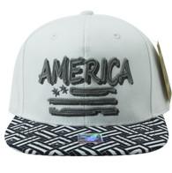 SM924 America USA Flag Snapback (White & Black)