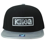 SM916 King Cotton Snapback Cap Hat (Black & Grey)