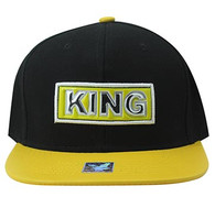 SM916 King Cotton Snapback Cap Hat (Black & Gold)