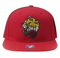 SM930 Tiger Snapback Cap (Red & Red)