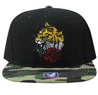 SM930 Tiger Snapback Cap (Black & Military Camo)