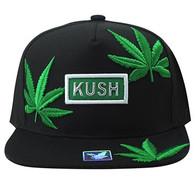 SM946 Marijuana Snapback Cap (Black & Black)