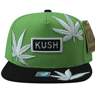 SM946 Marijuana Snapback Cap (Kelly Green & Black)
