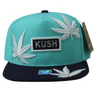 SM946 Marijuana Snapback Cap (Sky Blue & Black)