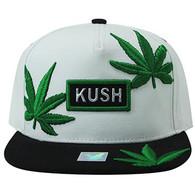 SM946 Marijuana Snapback Cap (White & Black)