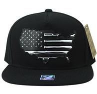 SM947 America USA Flag Snapback (Black & Black)