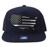 SM947 America USA Flag Snapback (Navy & Navy)