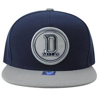 SM984 Dallas Cotton Snapback Cap Hat (Navy & Grey)