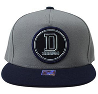SM984 Dallas Cotton Snapback Cap Hat (Grey & Navy)