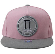 SM984 Dallas Cotton Snapback Cap Hat (Light Pink & Grey)