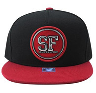 SM984 San Francisco Cotton Snapback Cap Hat (Black & Red)