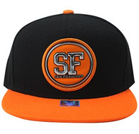 SM984 San Francisco Cotton Snapback Cap Hat (Black & Orange)
