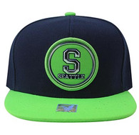 SM984 Seattle City Snapback Cap (Navy & Lime)