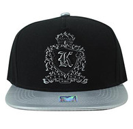 SM982 King Cotton Snapback Cap Hat (Black & Grey)