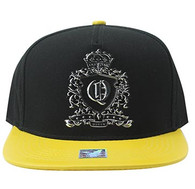 SM982 Queen Cotton Snapback Cap Hat (Black & Gold)