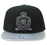 SM982 Queen Cotton Snapback Cap Hat (Black & Grey)