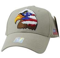 VM036 American USA Eagle Velcro Cap (Khaki & Khaki)