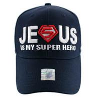 VM037 Jesus is Super Hero Velcro Cap (Solid Navy)